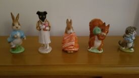 Beatrix Potter Beswick Figurines - BP3b, including Peter Rabbit and Pickles