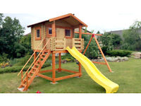 Brand New High Quality Children`s/ Kids Wooden Garden Playhouse, Tree House with Swing and 3m Slide