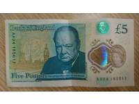 AA04 uncirlulated Bank of England £5 five pounds polymer note
