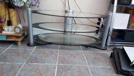 Smoked glass 3 tier TV stand..