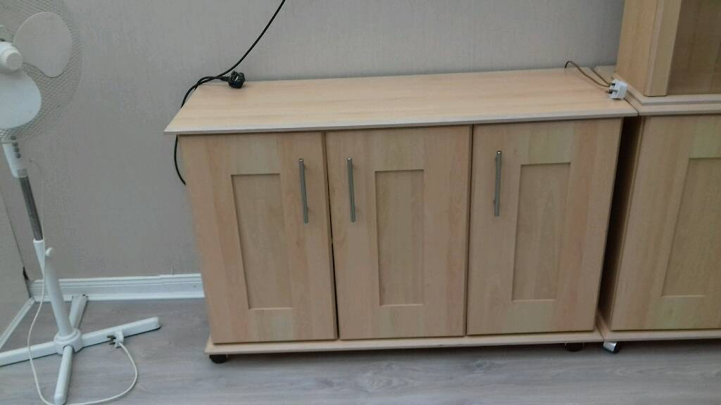 Sideboards and glass unitin Falls Road, BelfastGumtree - Pine sideboard and glass unit with lights excellent condition on removable wheels