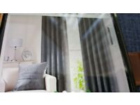 Pair of Dunelm Chenille Grey Lined Eyelet Curtains W168cm L228cm