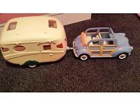 sylvanian caravan and car