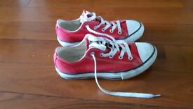 Red converse shoes size 3