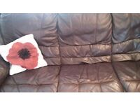 Brown leather sofa 3 seater good condition