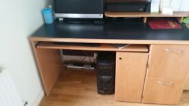 Large Office Desk, Storage for PC + Double Draws