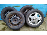 Set of 4 used car tyres 195 60 R15 with 3 steel rims, I alloy. Suitable for Vauxhall Astra etc