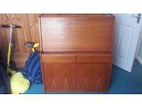 Wooden Bureau Desk With Drawers & Cupboard