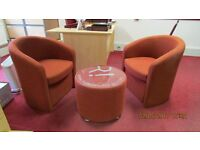 Two bucket chairs plus round glass topped table