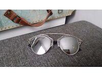 silver mirrored fashion celebrity christian designer inspired sunglasses NEW!!