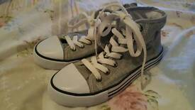 Girls grey and white lace up trainers size 1.