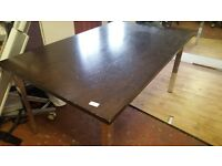 Large Solid Wood & Chrome Dining Table