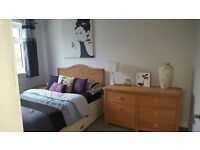 Wicker Bedroom Furniture set. Double bed inc mattress, double chest of drawers and side table