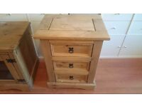 Corona Mexican Pine 3 draw side table - living room or bedroom