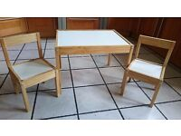 Children table with two chairs - solid wood frames
