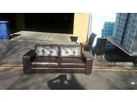 3x3 very modern brown leather seater sofa