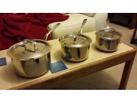 Set of 3 stainless steel copper bottomed sauce pans
