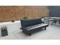 Sofa bed / Settee black faux leather