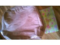 Pouffe footstool bean bag zip on off cover vgc & butterfly cushion