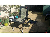 TF Gear Fishing Chair (recliner) with attachments and rugged cary bag - Good Condition