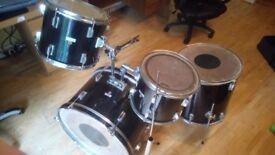 Drum Kit set. Hohner. Bass drum 2 tom toms and snare drum & sticks
