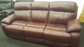 Real leather cherry black 3 seater sofa.