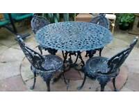 Antique Victorian Garden Table & chairs