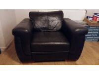 Chocolate Leather Sofa Suite- FREE