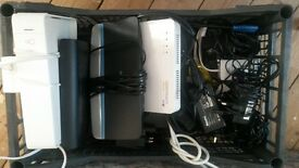 mixed modems/hubs..sky+hd boxes and remotes..ethernet cables..adapters...coax...and lots more