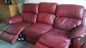 Red leather recliner sofa and 1 armchair
