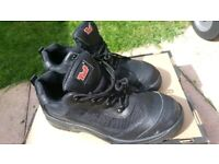 Mens Black Leather Industry Safety Trainer Shoe Steel toe Size 10