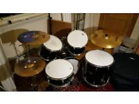 Pearl Export 5 piece, Zildjian cymbals, hardware and cases