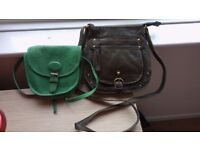 Two women's leather bags (light green, dark green)