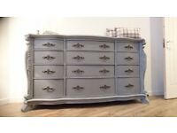 Large Upcycled Elegant French Provencal Grey Ruched Chest of Drawers