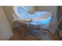 Unused white moses basket / bassinet with rocking stand