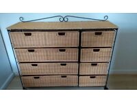Large 8 Drawer wicker unit in a wrought iron frame