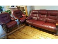 Handmade Red Leather Sofa + 2 Arm chairs set | Offers accepted