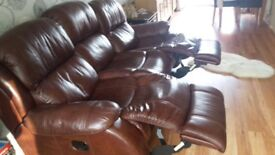 3 seater and two seater reclining leather sofas