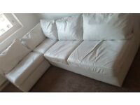 3 piece white leather corner sofa bed suite