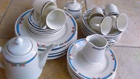 34 Piece Porcelain Dinner / Tea Service White With Border Pattern Brand New & Undamaged