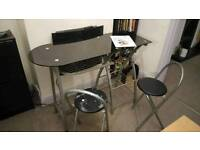 Breakfast bar/dining table/coffee table black glass