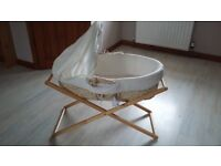 Mothercare moses basket with wooden stand