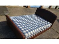 Leather double bed frame and mattress - can deliver