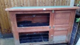 Double storey rabbit hutch. Had for 6 years but still solid. Roof good condition.