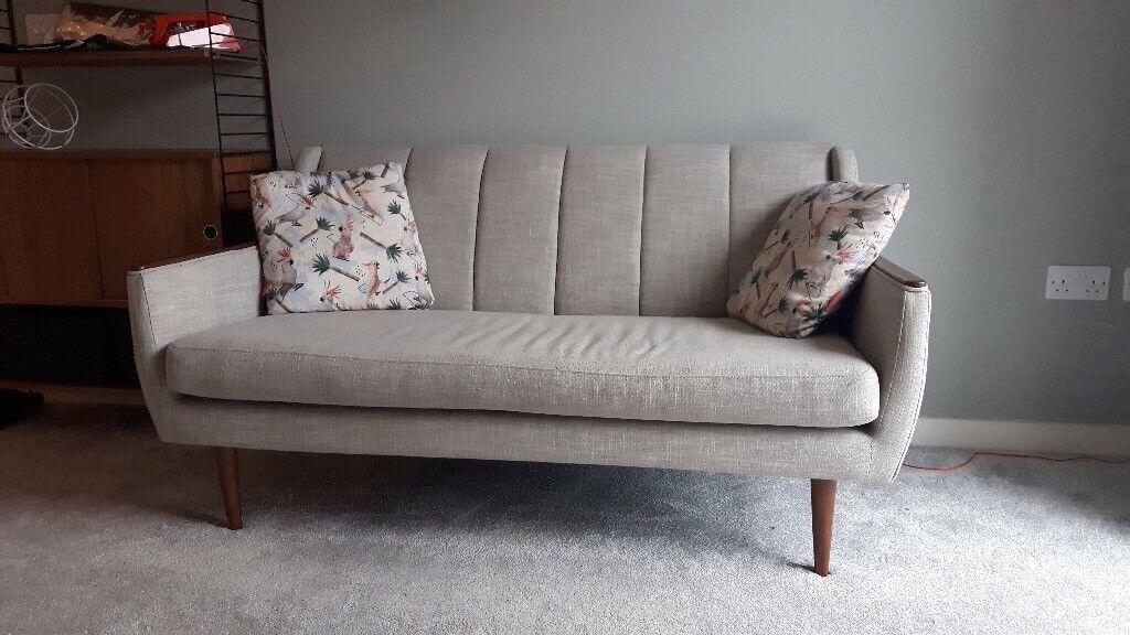 Small Grey Retro Sofa