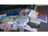 3 boxes of papercraft, rubber stamps, craft Cd's and books