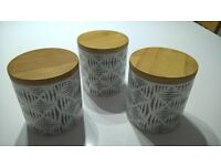 set of 3 canisters tea coffee sugar