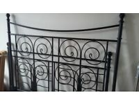 Complete decorative black iron double bed