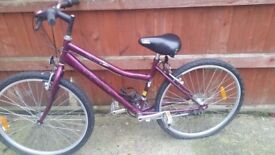 Purple second hand bike in good working condition