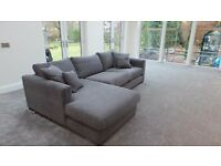 L Shaped Sofa and Footstool Modern seatee (never used)